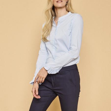 Mos Mosh Skjorte, Mattie Check, Light Blue model tæt