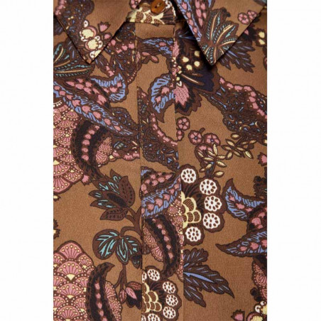 Minus Skjorte, Cardi, Autumn Bloom Tobacco detalje