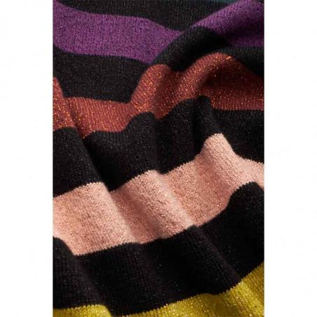 King Louie Bluse, Stripe Top Glitter, Black - Print