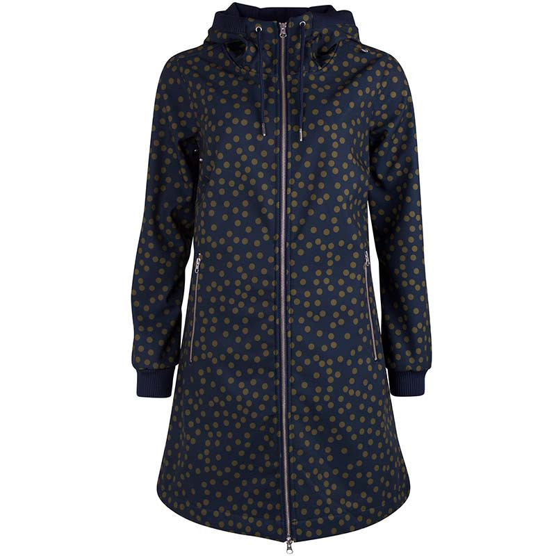 Image of   Danefæ Jakke, Jane Softshell, Navy/Olive Fun Dots