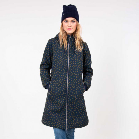 Danefæ Jakke, Jane Softshell, Navy/Olive Fun Dots model front