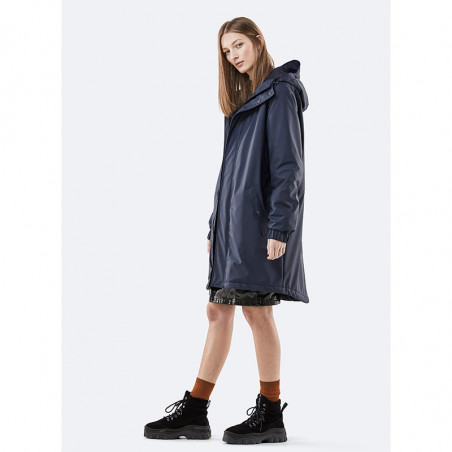 Rains Regnjakke dame, Long Quilted Parka, Blue model front