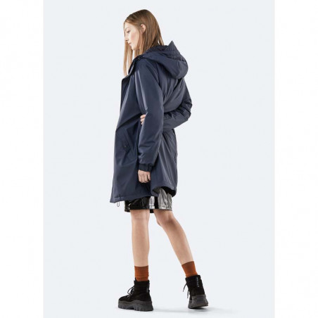 Rains Regnjakke dame, Long Quilted Parka, Blue model bagside