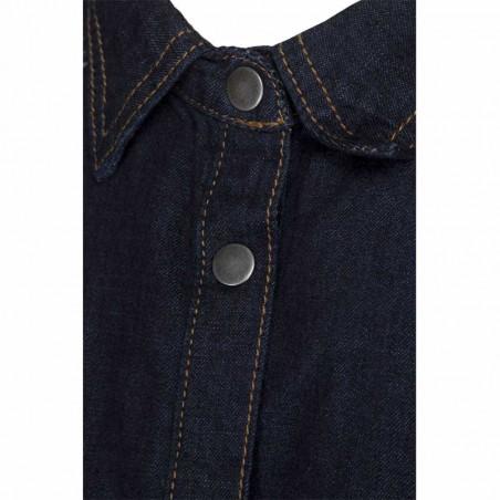 Minus Skjorte, Lau, Dark Denim - detalje