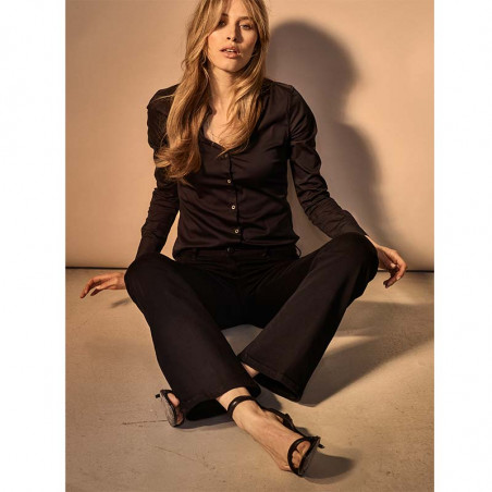 Mos Mosh Jeans, Victoria Silk flare, Black, Mos Mosh bukser model siddende