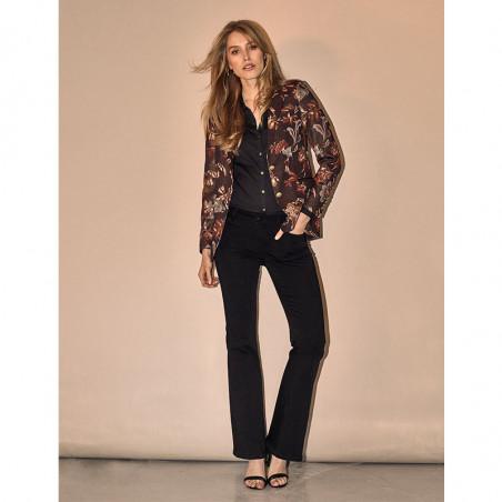 Mos Mosh Jeans, Victoria Silk flare, Black, Mos Mosh bukser model stående