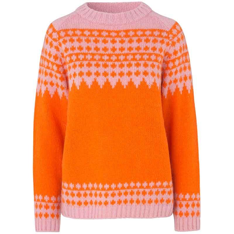 Mads Nørgaard Strik dame, Kanona, Orange/Pink mads nørgaard trøje