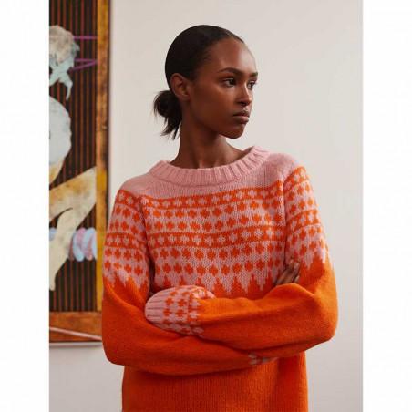 Mads Nørgaard Strik dame, Kanona, Orange/Pink mads nørgaard trøje model