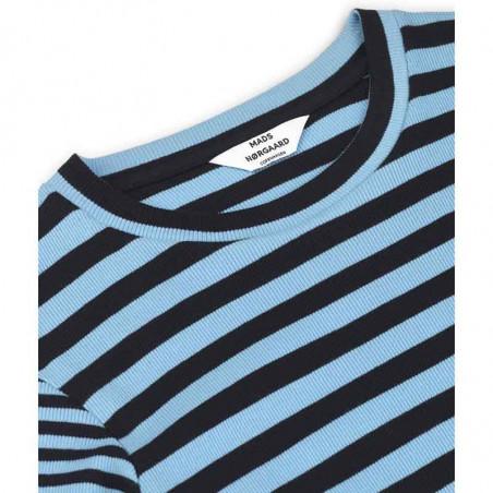 Mads Nørgaard T-shirt, Tuba Combi, Black/Clear Sky, Mads Nørgaard bluse med striber