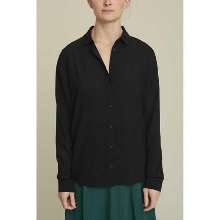 Basic Apparel skjorte, Alanis, black, model, Basic Apparel skjorte, Alanis, sort, model, sort skjorte dame