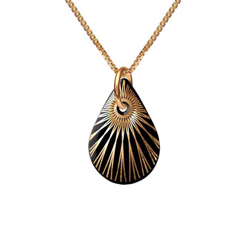 Scherning Halskæde, Splash Teardrop, Black/Gold