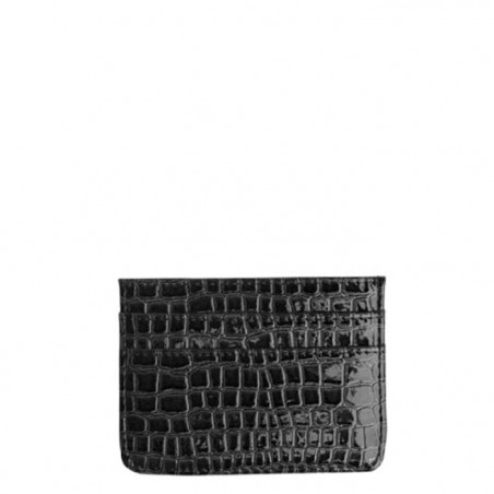 Hvisk Card Holder, Croco, black, sort kortholder