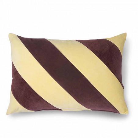HK Living pude, striped cushion velvet, yellow/purple, pyntepude