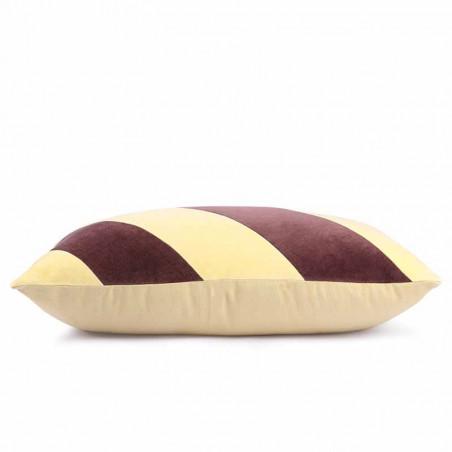 HK Living pude, striped cushion velvet, yellow/purple, side, pyntepude
