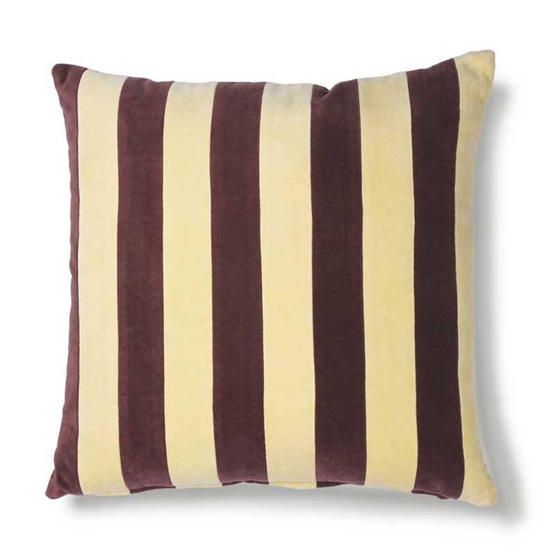 HK Living Pude, Striped Cushion Velvet 50x50, Yellow/Purple, pyntepude