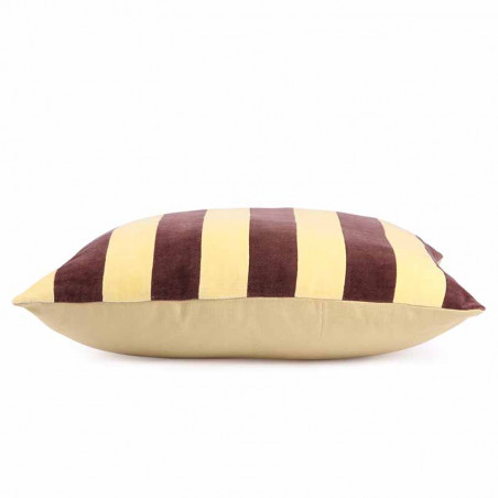 HK Living Pude, Striped Cushion Velvet 50x50, Yellow/Purple, side, pyntepude