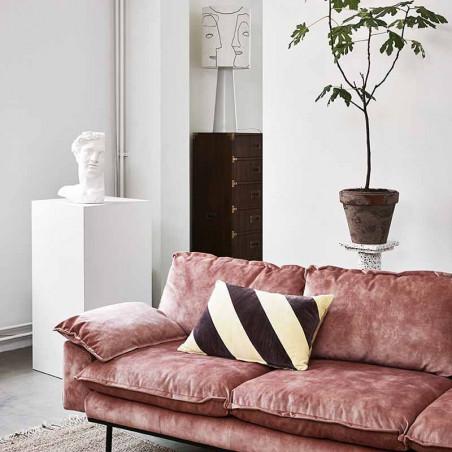 HK Living pude, striped cushion velvet, yellow/purple, sofa, pyntepude