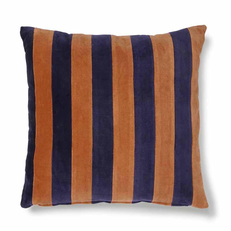 Image of   HK Living Pude, Striped Cushion Velvet 50x50, Blue/Orange