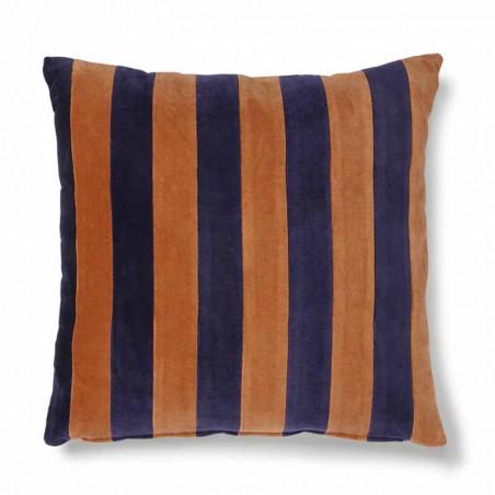 HK Living pude, striped cushion velvet 50x50, blue/orange, pyntepude