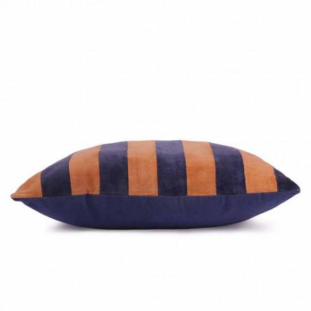 HK Living pude, striped cushion velvet 50x50, blue/orange, side, pyntepude