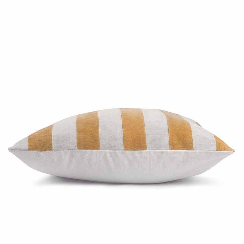 Image of   HK Living Pude, Striped Cushion Velvet 50x50, Grey/Gold
