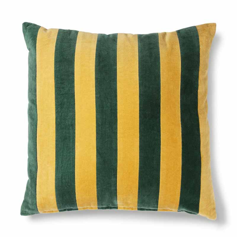 hk living Hk living pude, striped cushion velvet 50x50, green/mustard på superlove
