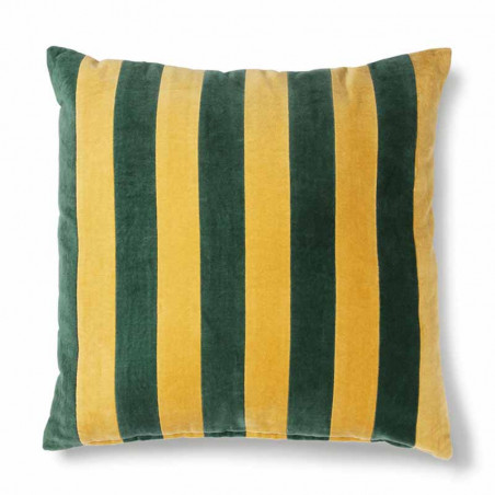 HK Living Pude, Striped Cushion Velvet 50x50, Green/Mustard, pyntepude