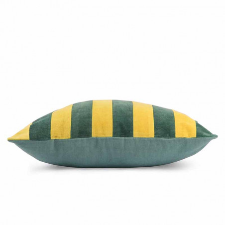 HK Living Pude, Striped Cushion Velvet 50x50, Green/Mustard, side, pyntepude