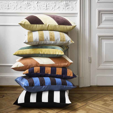 HK Living Pude, Striped Cushion Velvet 50x50, Green/Mustard, bunke, pyntepude