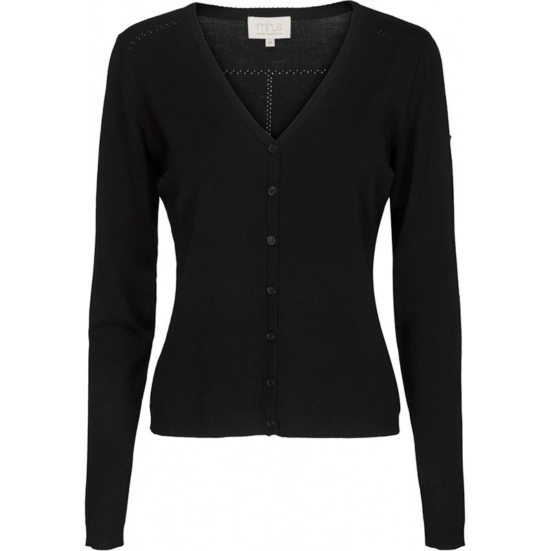 Minus Cardigan New Laura V-Neck, Black