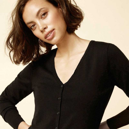 Minus Cardigan New Laura V-Neck, Black model