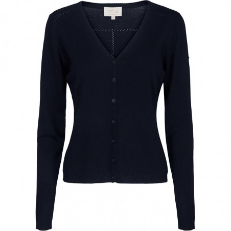 Minus Cardigan New Laura V-Neck, Black Iris Solid