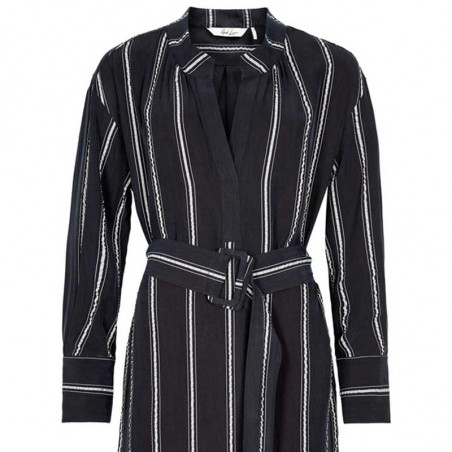 And Less Kjole, Alcaja Stripe, Blue Nights, detalje, skjortekjole