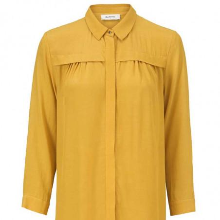 Modström Kjole, Marlon, Harvest Gold, detalje, skjortekjole, gul kjole, Modstrøm kjole