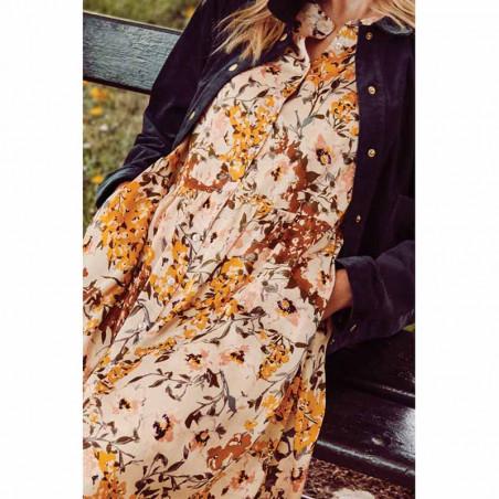 Lollys Laundry Kjole, Aliya, Flower Print, blomstret kjole, detalje, maxi kjole