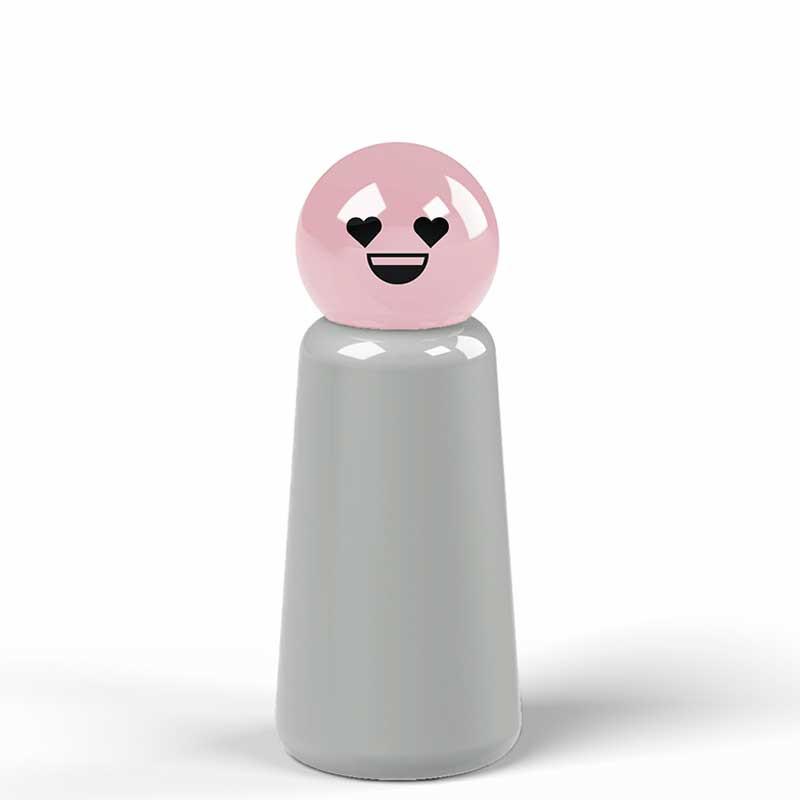 Lund London Termo Drikkedunk, Skittle Mini, Light Grey/Pink Heart, Skittle Bottle