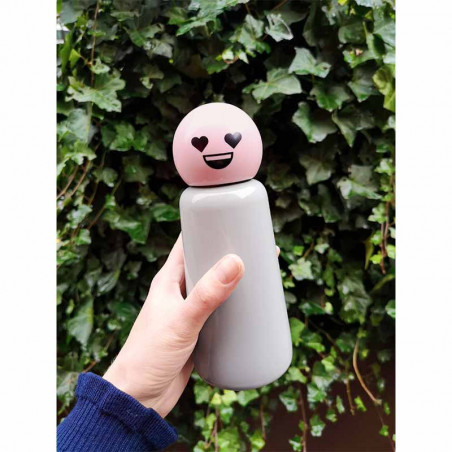 Lund London Termo Drikkedunk, Skittle Mini, Light Grey/Pink Heart, model, Skittle Bottle