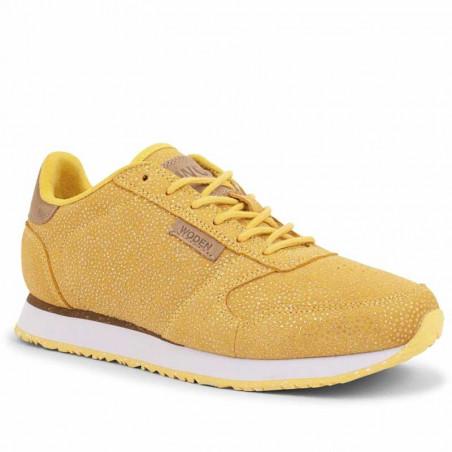 Woden Sneakers, Ydun Pearl, Super Lemon, gule sneakers, damesneakers, Woden sko, detalje