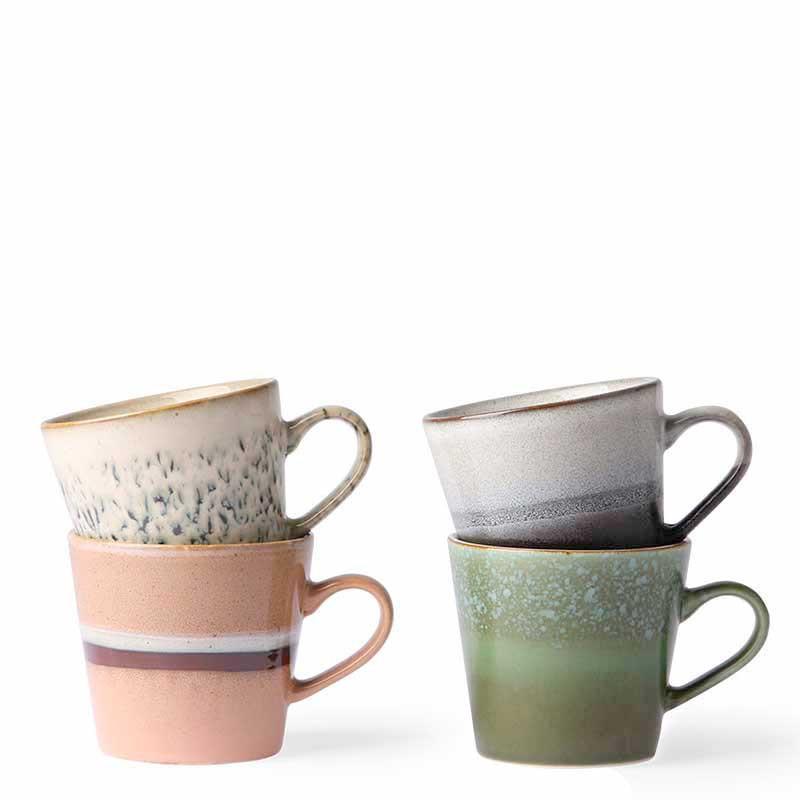 Image of   HK Living Krus, Ceramic 70s Cappuccino, Sæt med 4 stk