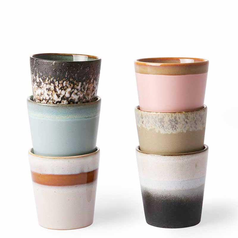 Image of   HK Living Krus, Ceramic 70s, Sæt med 6 stk