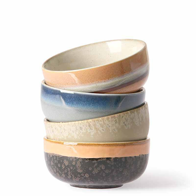 Image of   HK Living Skåle, Ceramic 70s Medium, Sæt med 4 stk