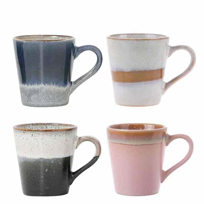Image of   HK Living Kopper, 4 stk Ceramic 70s Espresso, Snow