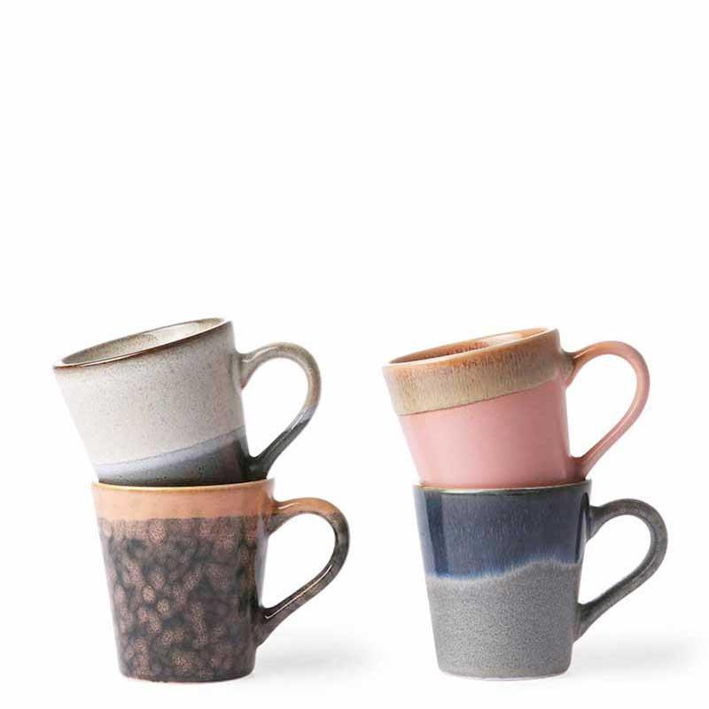 Image of   HK Living Kopper, 4 stk Ceramic 70s Espresso, Lava