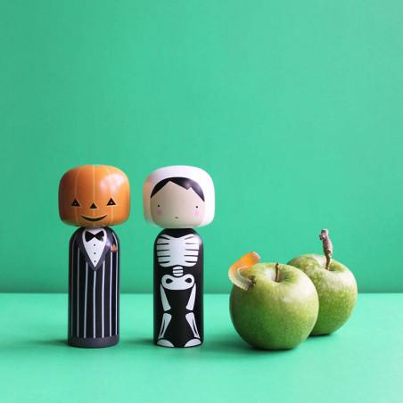 Lucie Kaas Træfigur, Pumpkin Kokeshi Halloween figurer Sketch Inc.