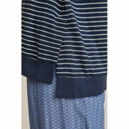 Basic Apparel Bluse, Saga, Navy/White detalje
