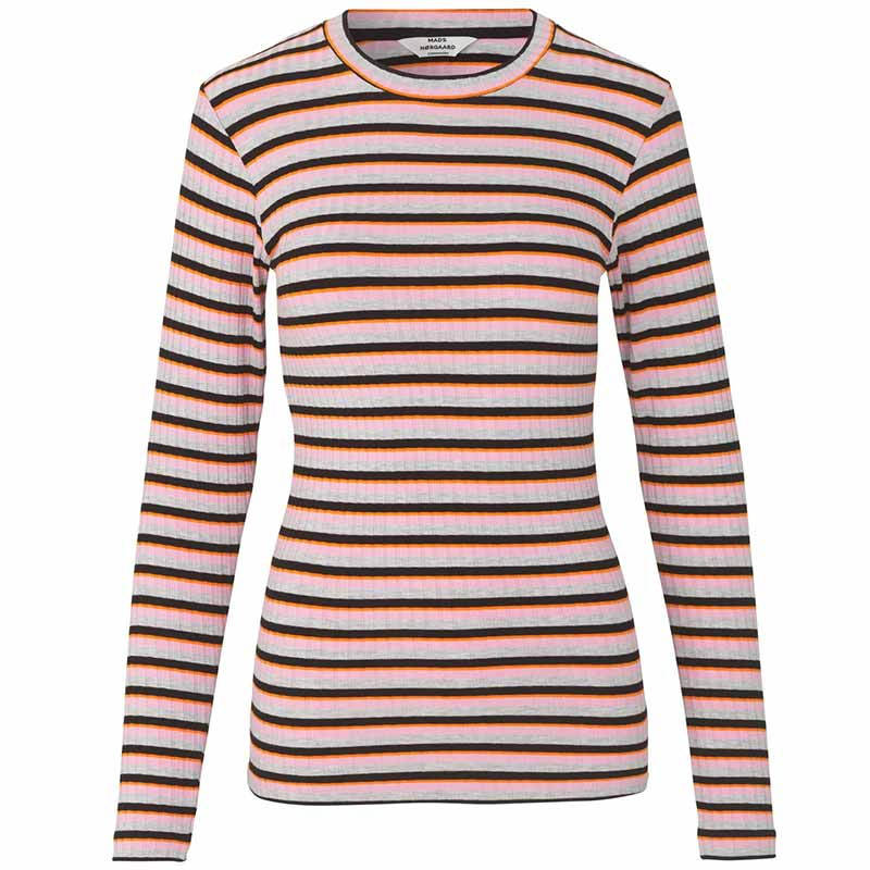 Mads Nørgaard T-shirt dame, Tuba, Rose/Multi Mads Nørgaard bluse Mads Nørgaard bluser mads nørgaard langærmet t-shirt