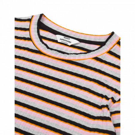 Mads Nørgaard T-shirt dame, Tuba, Rose/Multi Mads Nørgaard bluse Mads Nørgaard bluser mads nørgaard langærmet t-shirt detalje
