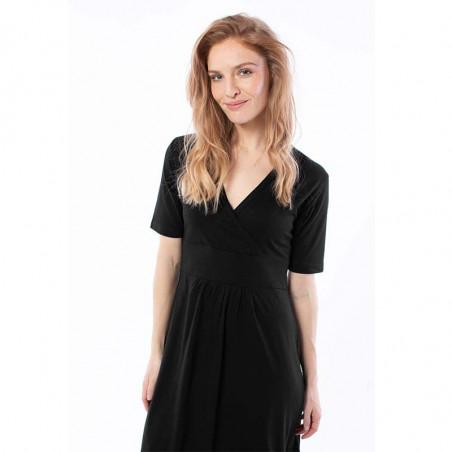 Danefæ Kjole, Wonderful, Black Mel slå om kjole danefæ dame detalje