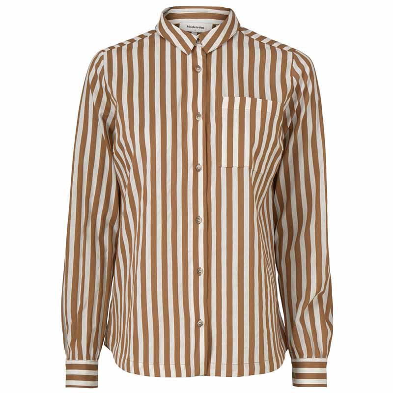 Modström Skjorte, Barbette, Warm Camel Stripe