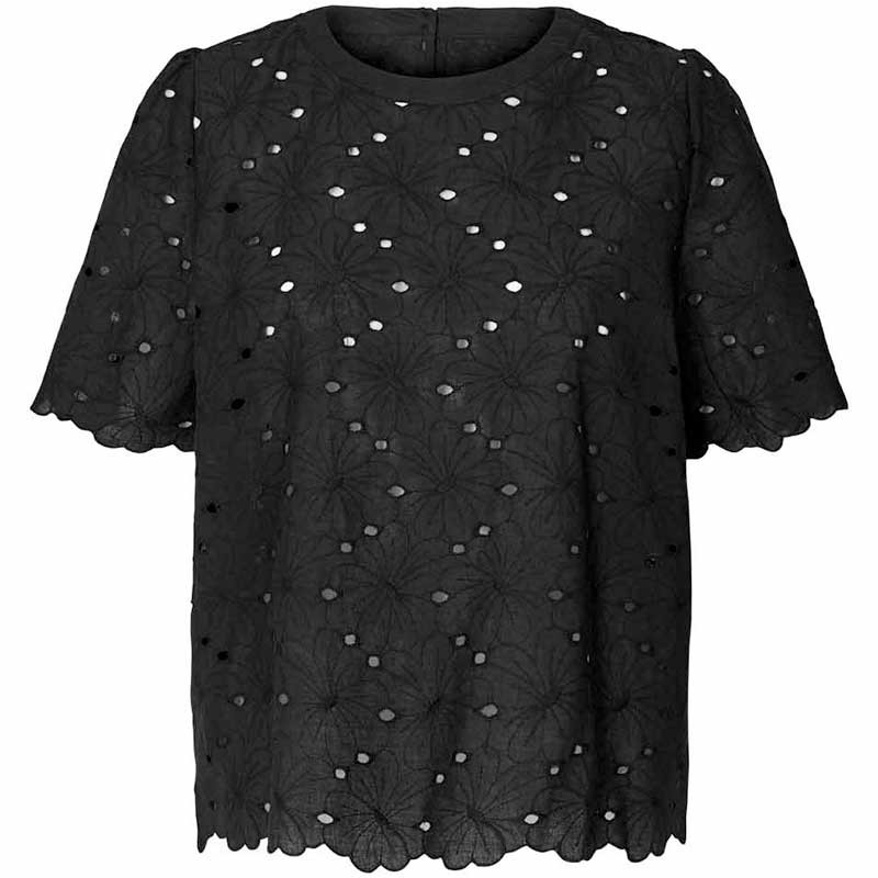 Lollys Laundry Top, Christina, Washed Black Lollys Laundry bluse